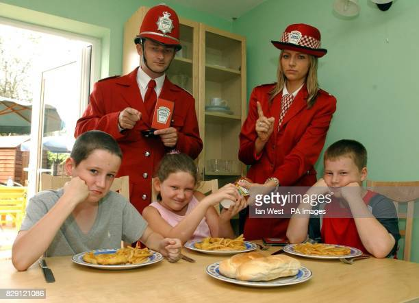 The Heinz Ketchup Police have cautioned three children caught playing up at family dinner time as part of a national campaign to help parents during...