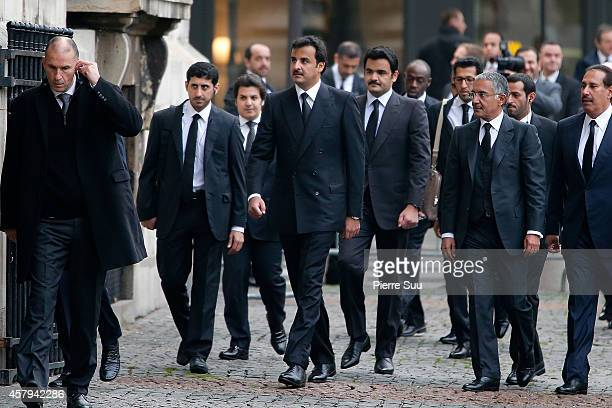 The Heir Apparent of Qatar HH Sheikh Tamim bin Hamad Al Thani attends the Memorial Service For Christophe De Margerie Total CEO at Eglise...