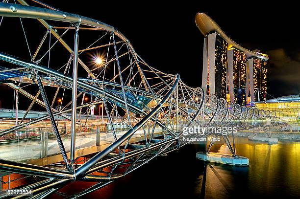 The Helix Bridge and Marina Bay Sand