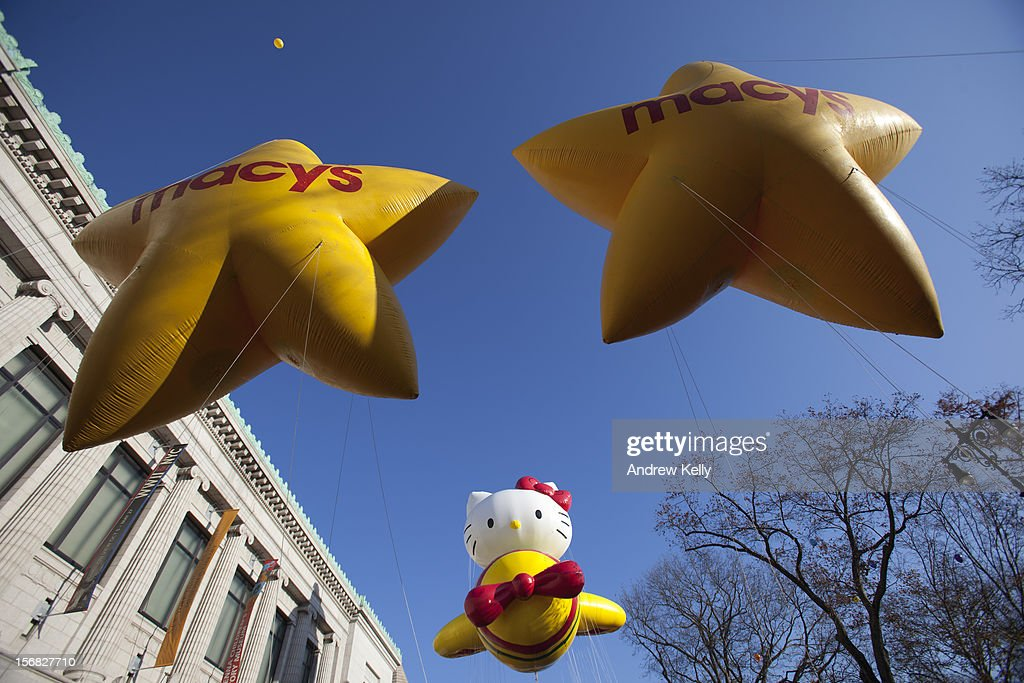 The Hello Kitty balloon makes its way through the streets of Manhattan during the 86th Annual Macy's Thanksgiving Day Parade November 22, 2012 in New York City. Macy's donated tickets and transportation to this year's Thanksgiving Day Parade to 5,000 people from neighborhoods hardest hit by Superstorm Sandy.