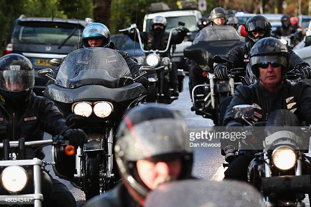 The Hells Angels lead the hearse carrying the coffin of Ronnie Biggs into Golders Green Crematorium on January 3 2014 in London England Ronnie Biggs...
