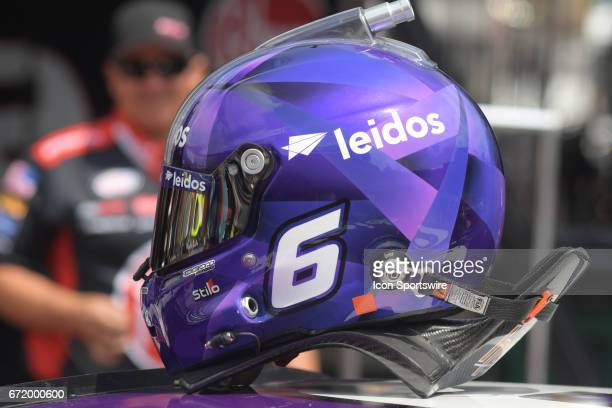 The helmet and HANS Device of Trevor Bayne Roush/Fenway Racing AdvoCare Ford Fusion during practice for the Xfinity Series Fitzgerald Glider Kits 300...