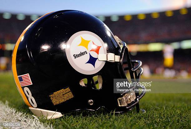 The helmet belonging to a Pittsburgh Steelers sits on the field during pregame warmups before the game against the San Francisco 49ers at Candlestick...
