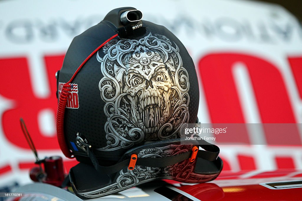 The helmet of Dale Earnhardt Jr., driver of the #88 National Guard Chevrolet, before practice for the NASCAR Sprint Cup Series Sprint Unlimited at Daytona International Speedway on February 15, 2013 in Daytona Beach, Florida.