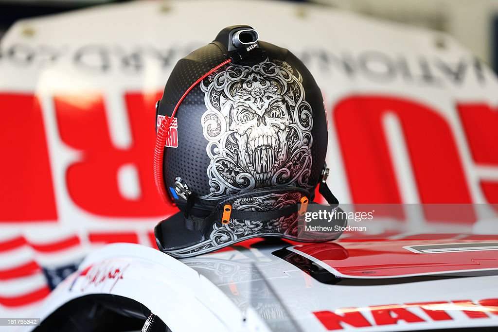 The helmet of Dale Earnhardt Jr., driver of the #88 National Guard Chevrolet, during practice for the NASCAR Sprint Cup Series Daytona 500 at Daytona International Speedway on February 16, 2013 in Daytona Beach, Florida