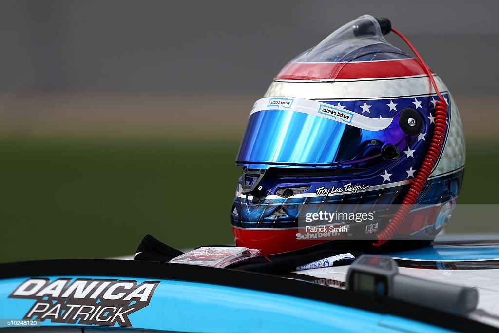 The helmet of Danica Patrick (not pictured), driver of the #10 Nature's Bakery Chevrolet, rests on her car during qualifying for the NASCAR Sprint Cup Series Daytona 500 at Daytona International Speedway on February 14, 2016 in Daytona Beach, Florida.