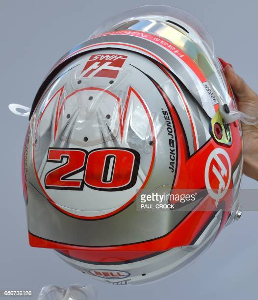 The helmet of Haas F1's Danish driver Kevin Magnussen is displayed in Melbourne on March 23 ahead of the Formula One Australian Grand Prix / AFP...