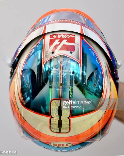 The helmet of Haas F1's French driver Romain Grosjean is displayed in Melbourne on March 23 ahead of the Formula One Australian Grand Prix / AFP...