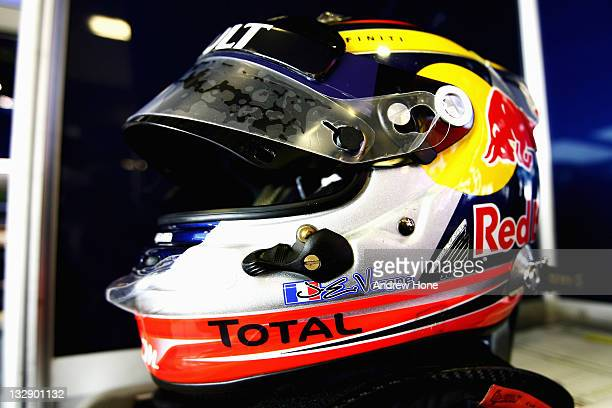 The helmet of JeanEric Vergne of France and Red Bull Racing is shown at the Formula 1 Young Drivers Test Yas Marina Circuit on November 15 2011 in...
