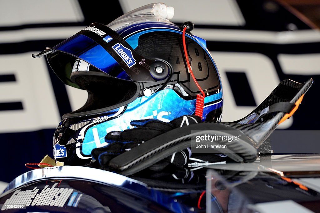 The helmet of Jimmie Johnson, driver of the #48 Lowe's Chevrolet, sits on top of his car in the garage area during practice for the NASCAR Sprint Cup Series STP Gas Booster 500 on April 6, 2013 at Martinsville Speedway in Ridgeway, Virginia.