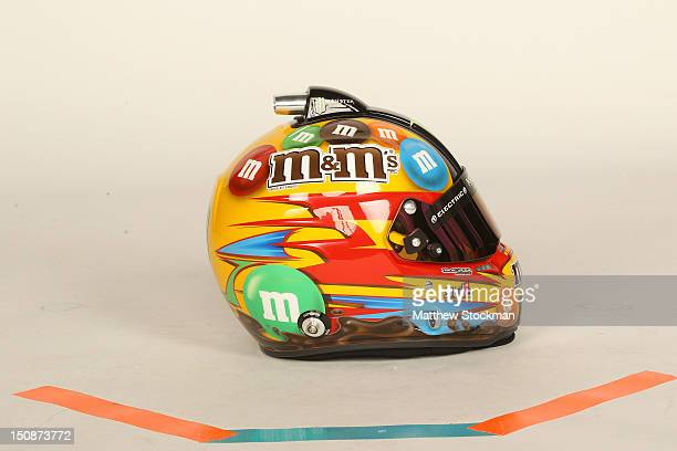 The helmet of Kyle Busch driver of the MM's Toyota posed during NASCAR Media Day at Daytona International Speedway on February 16 2012 in Daytona...