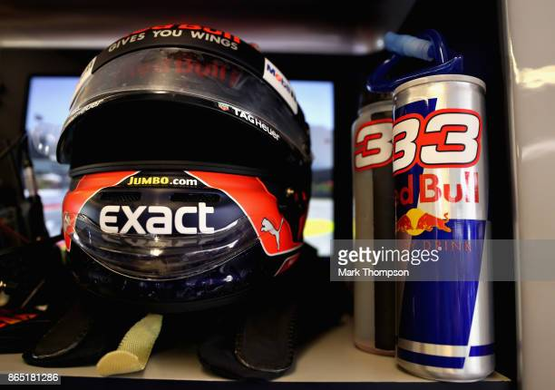 The helmet of Max Verstappen of Netherlands and Red Bull Racing in the garage before the United States Formula One Grand Prix at Circuit of The...