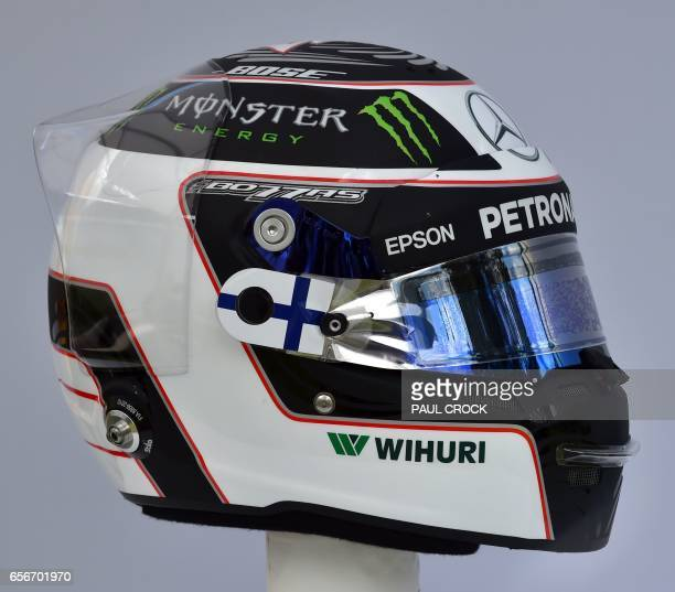 The helmet of Mercedes' Finnish driver Valtteri Bottas is displayed in Melbourne on March 23 ahead of the Formula One Australian Grand Prix / AFP...