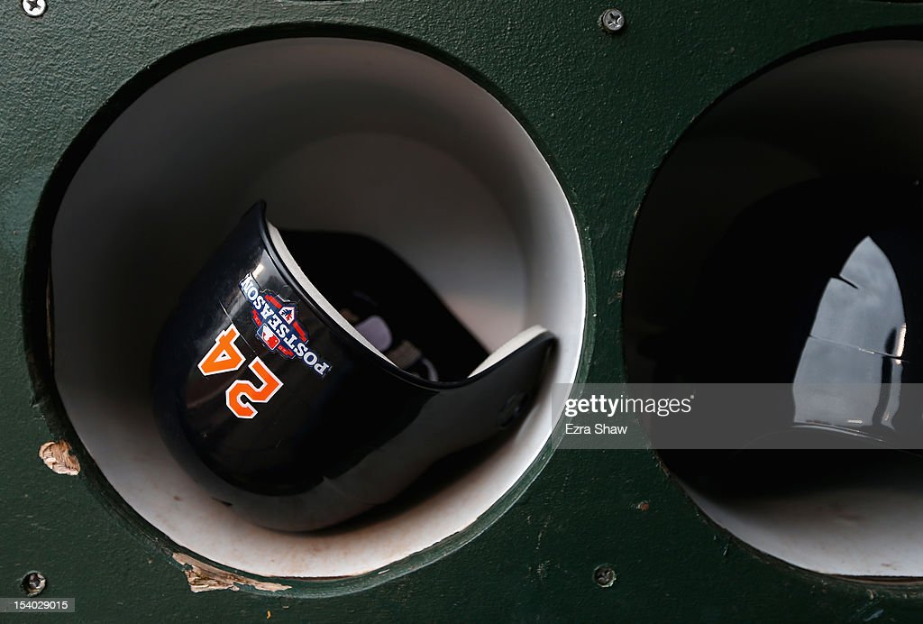 The helmet of <a gi-track='captionPersonalityLinkClicked' href=/galleries/search?phrase=Miguel+Cabrera&family=editorial&specificpeople=202141 ng-click='$event.stopPropagation()'>Miguel Cabrera</a> #24 of the Detroit Tigers in the dugout before their game against the Oakland Athletics Game Five of the American League Division Series at Oakland-Alameda County Coliseum on October 9, 2012 in Oakland, California.