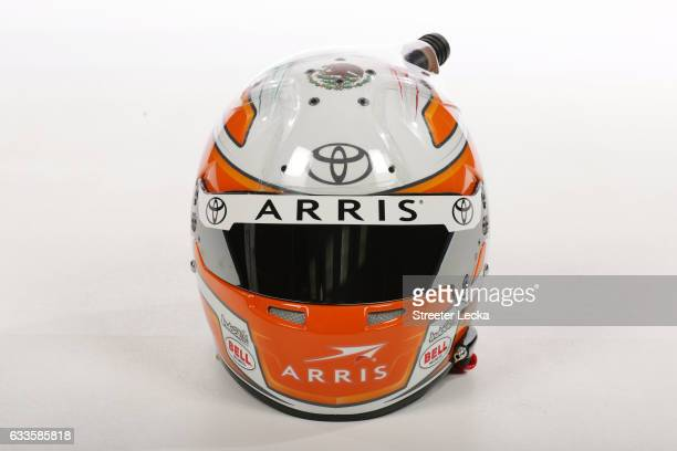 The helmet of Monster Energy NASCAR Cup Series driver Daniel Suarez is seen during the 2017 Media Tour at the Charlotte Convention Center on January...