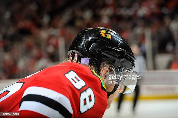 The helmet of Patrick Kane of the Chicago Blackhawks has the Hockey Fights Cancer logo during the NHL game against the Ottawa Senators on October 26...