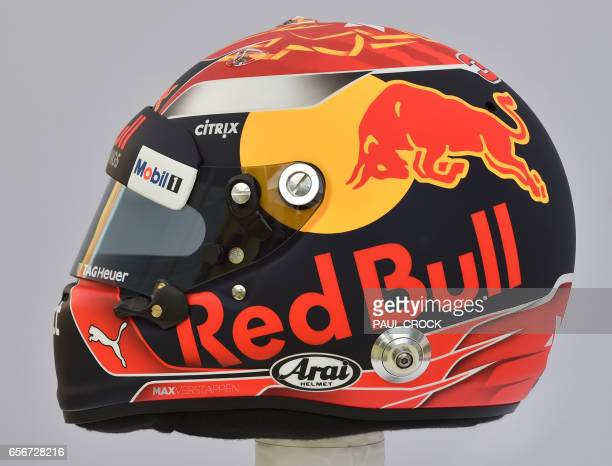 The helmet of Red Bull's Dutch driver Max Verstappen is displayed in Melbourne on March 23 ahead of the Formula One Australian Grand Prix / AFP PHOTO...