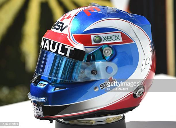 The helmet of Renault F1 Team's British driver Jolyon Palmer is displayed in the paddock ahead of the Formula One Australian Grand Prix in Melbourne...