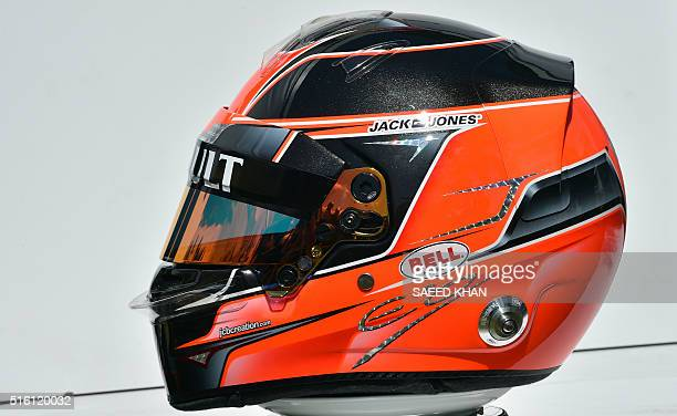 the helmet of Renault Sport F1 driver Esteban Ocon of France during the annual driver's portrait ahead of the Formula One Australian Grand Prix in...