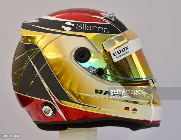 The helmet of Sauber's German driver Pascal Wehrlein is displayed in Melbourne on March 23 ahead of the Formula One Australian Grand Prix / AFP PHOTO...