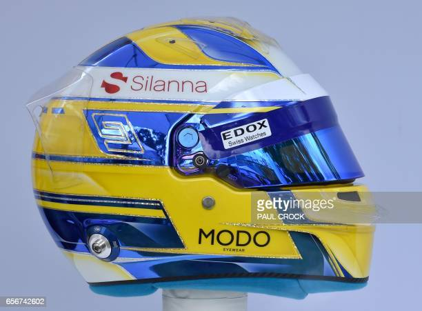 The helmet of Sauber's Swedish driver Marcus Ericsson is displayed in Melbourne on March 23 ahead of the Formula One Australian Grand Prix / AFP...