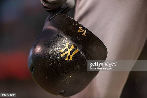 The helmet of Starlin Castro of the New York Yankees with pine tar against the Minnesota Twins on June 16 2016 at Target Field in Minneapolis...