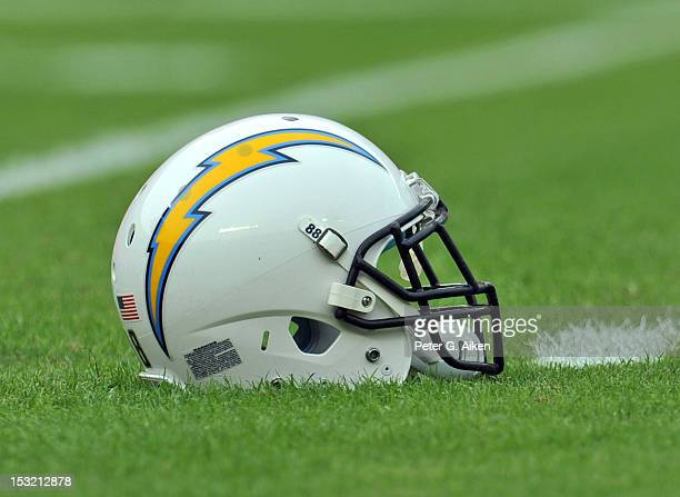 The helmet of tight end Dante Rosario of the San Diego Chargers before a game against the Kansas City Chiefs on September 30 2012 at Arrowhead...