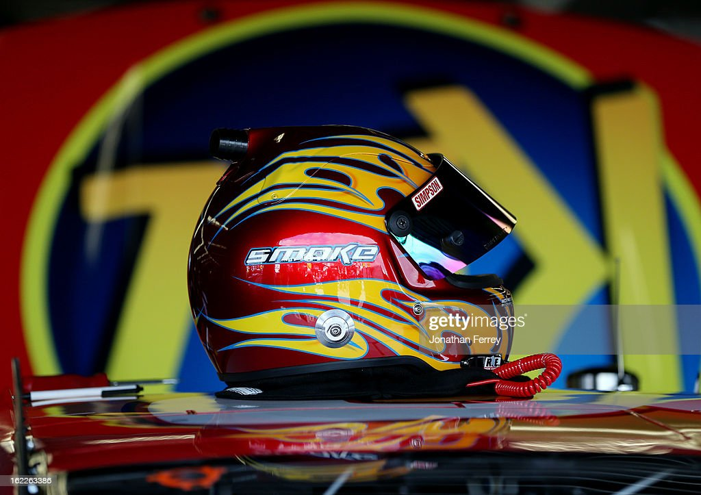 The helmet of Tony Stewart sits on top of the #33 Oreo/Ritz Chevrolet in the garage during practice for the NASCAR Nationwide Series DRIVE4COPD 300 at Daytona International Speedway on February 21, 2013 in Daytona Beach, Florida.