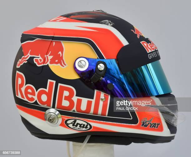 The helmet of Torro Rosso's Russian driver Daniil Kvyat is displayed in Melbourne on March 23 ahead of the Formula One Australian Grand Prix / AFP...