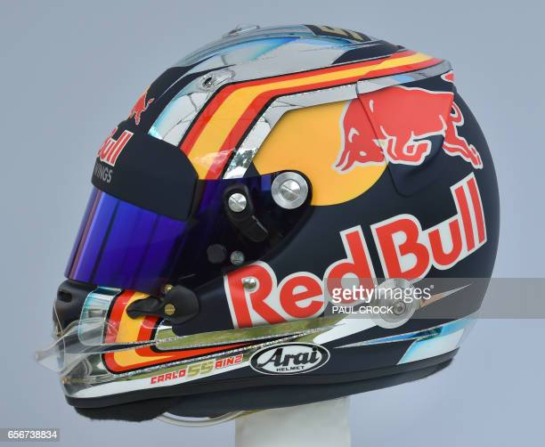The helmet of Torro Rosso's Spanish driver Carlos Sainz Jr is displayed in Melbourne on March 23 ahead of the Formula One Australian Grand Prix / AFP...
