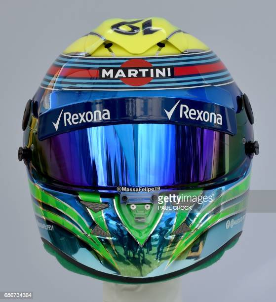 The helmet of Williams' Brazilian driver Felipe Massa is displayed in Melbourne on March 23 ahead of the Formula One Australian Grand Prix / AFP...