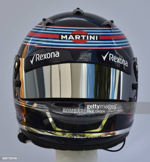 The helmet of Williams' Canadian driver Lance Stroll is displayed in Melbourne on March 23 ahead of the Formula One Australian Grand Prix / AFP PHOTO...