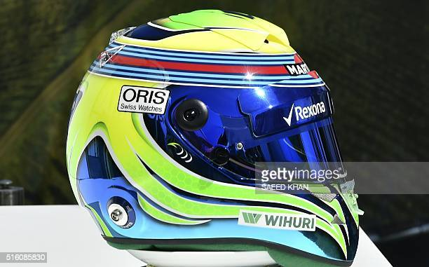 The helmet of Williams Martini Racing driver Felipe Massa of Brazil during the annual driver's portrait ahead of the Formula One Australian Grand...
