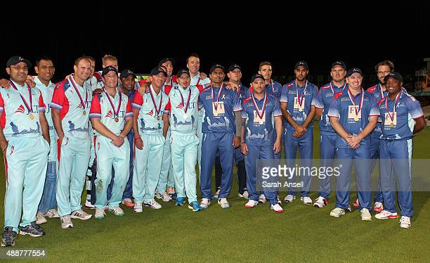 The Help for Heroes team and the Rest of the World XI at the end of the Cricket for Heroes charity match at The Kia Oval on September 17 2015 in...