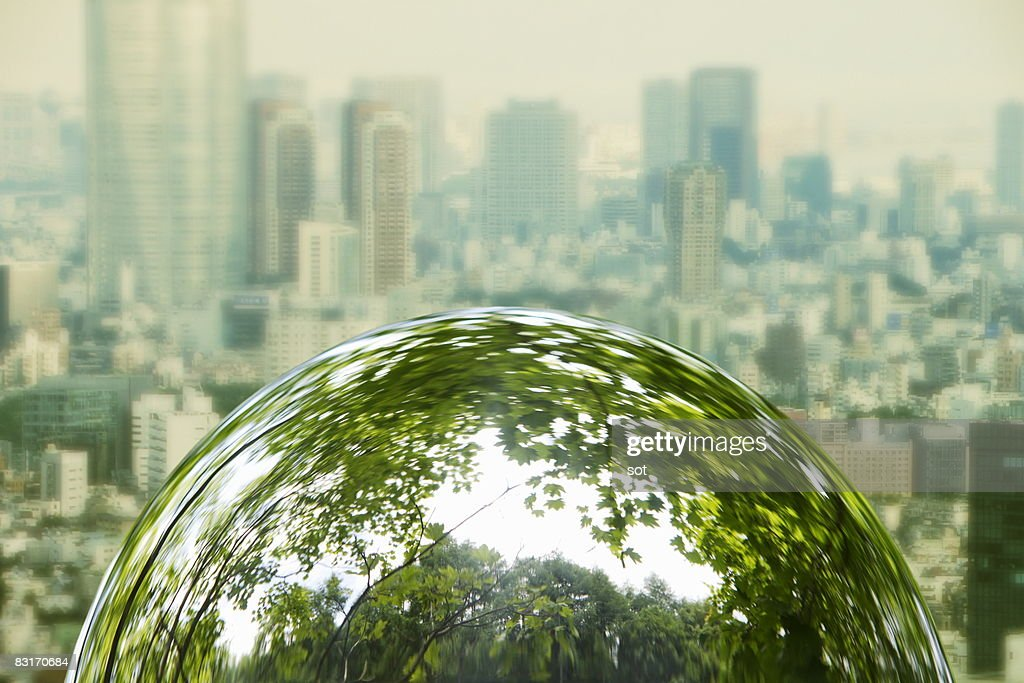 The hemisphere that trees came out,in city scape b : Stock Photo