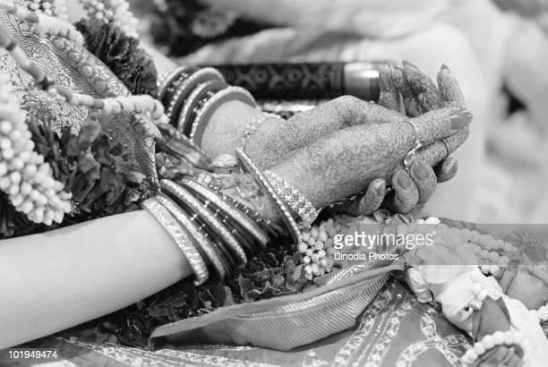 The hennaed hands of Nita Ambani at her wedding to Indian billionaire industrialist Mukesh Ambani Mumbai circa 1985