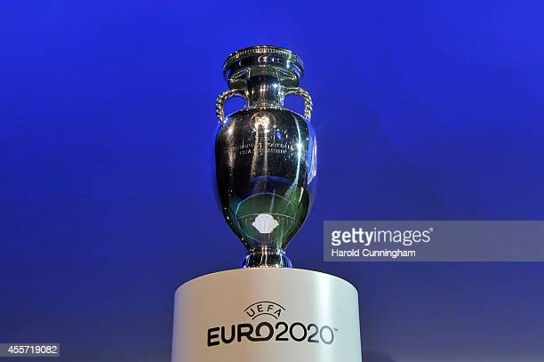 The Henri Delaunay trophy is displayed at the UEFA EURO 2020 Host Cities Final announcement ceremony held at Espace Hippomene on September 19 2014 in...