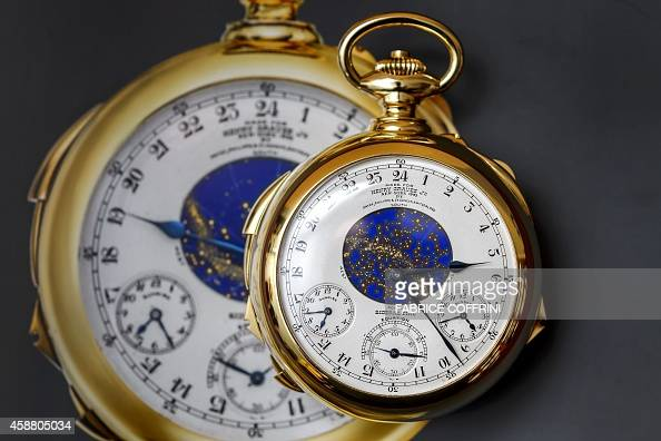 The Henry Graves Supercomplication timepiece made by Swiss watchmaker Patek Philippe in 1932 is photographied during a press preview by Sotheby's...