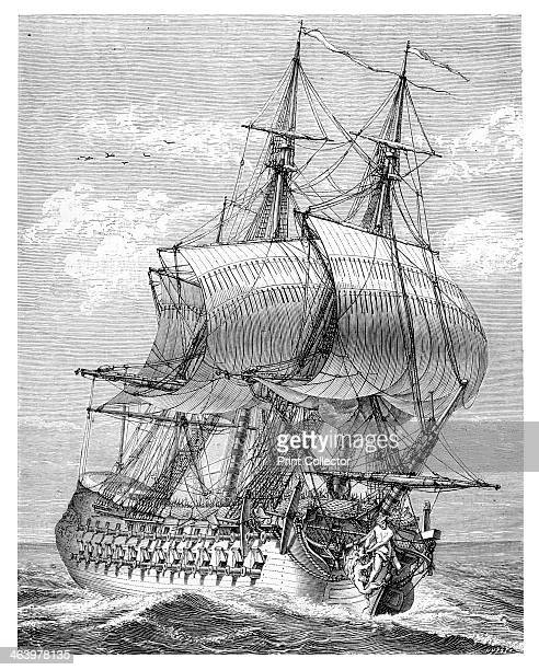 The 'Hercules' A 58cannon ship from an original drawing by d'Ozanne