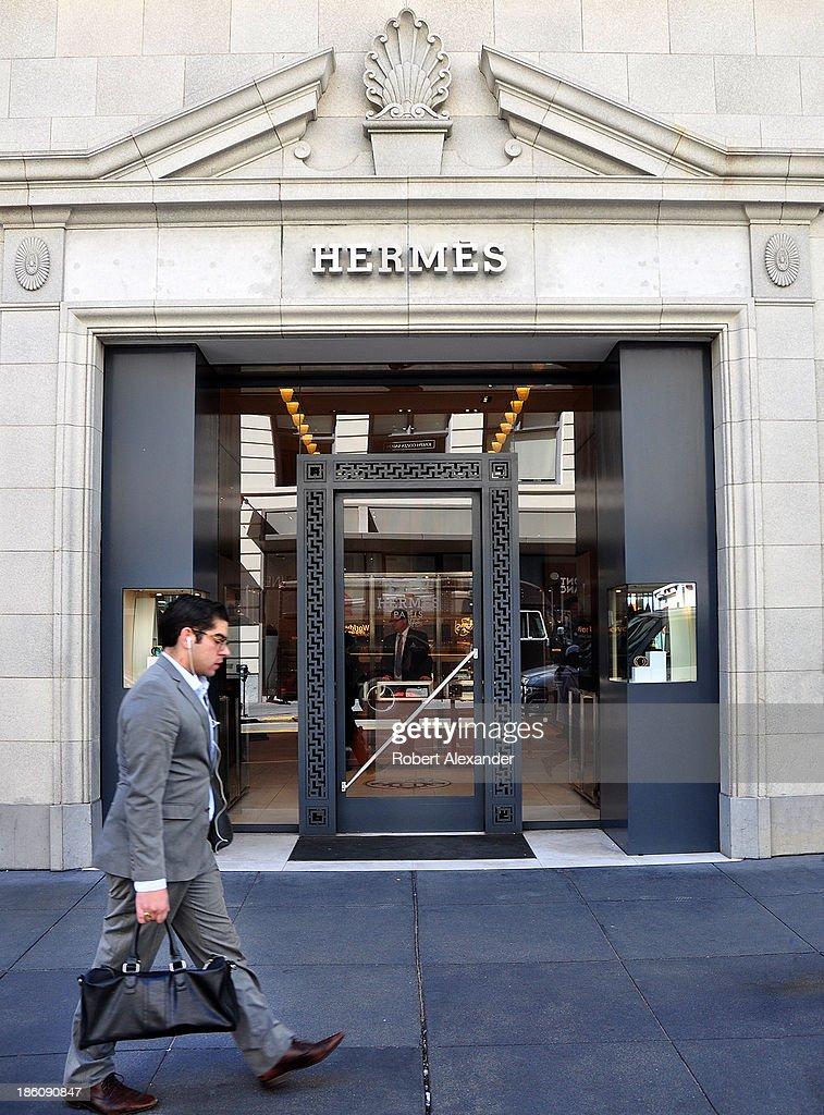 The Hermes store in San Francisco's Union Square upscale shopping area sells luxury brand clothing and accessories on October 4, 2013 in San Francisco, California.