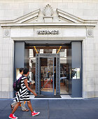 The Hermes store in San Francisco's Union Square upscale shopping area sells luxury brand clothing and accessories on October 4 2013 in San Francisco...