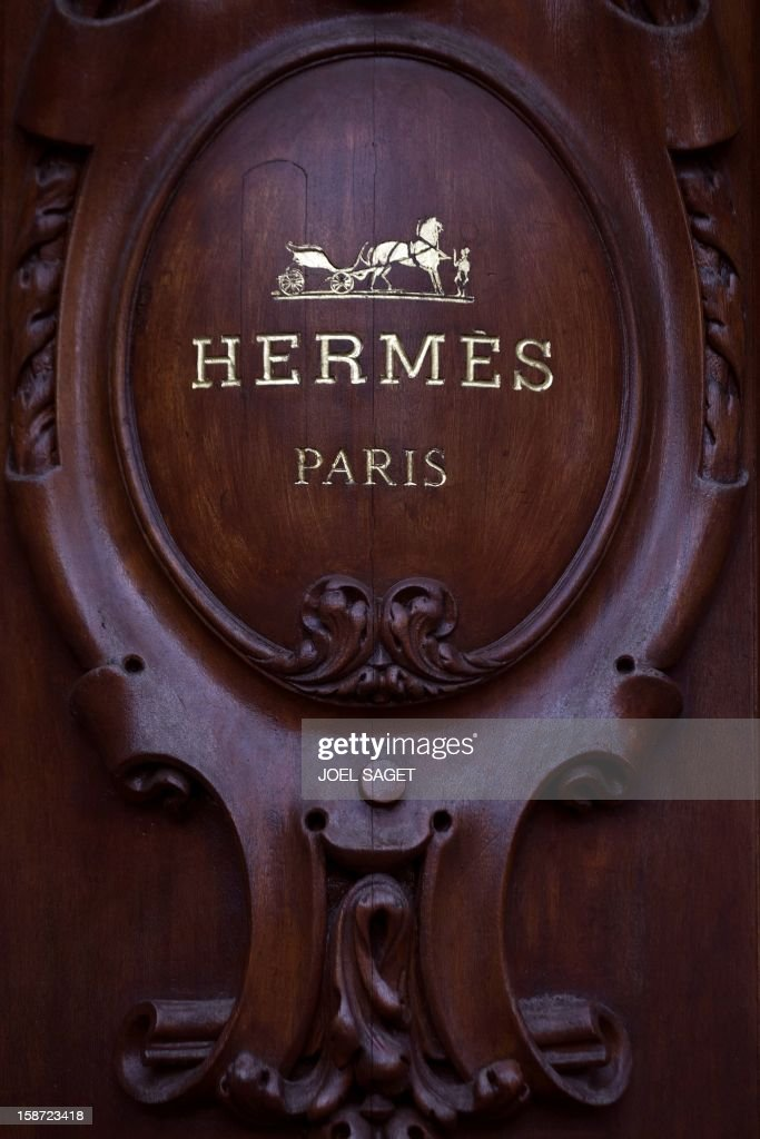 The Hermes store name is pictured above the facade of a shop, on December 26, 2012 in Paris.