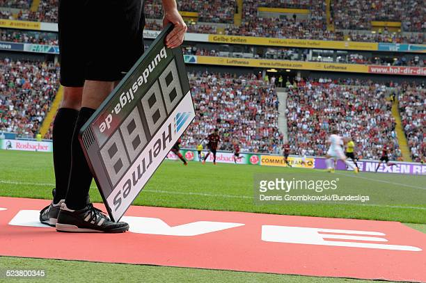 The HERMES substitution board during the Bundesliga match between Eintracht Frankfurt and FC Bayern Muenchen at Commerzbank Arena on August 17 2013...