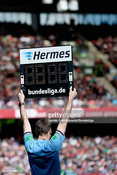 The Hermes substitution board is seen during the Bundesliga match between 1 FC Nuernberg and Werder Bremen at Grundig Stadion on May 18 2013 in...