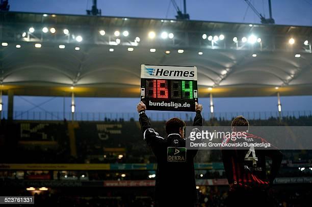 The Hermes substitution board is seen during the Bundesliga match between Eintracht Frankfurt and 1899 Hoffenheim on January 26 2013 in Frankfurt am...