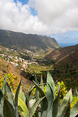 The Hermigua Valley with Hermigua village on the island of La Gomera which is one of the Canary Islands Spain located in the Atlantic Ocean off the...