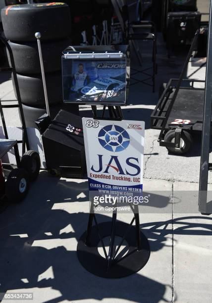 The hero card stand of Corey LaJoie BK Racing Toyota Camry during practice for the Kobalt 400 NASCAR Monster Energy Cup Series race on March 11 2017...
