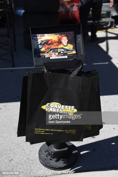 The hero card stand of Matt DiBenedetto GO FAS Racing Ford Fusion during practice for the Kobalt 400 NASCAR Monster Energy Cup Series race on March...