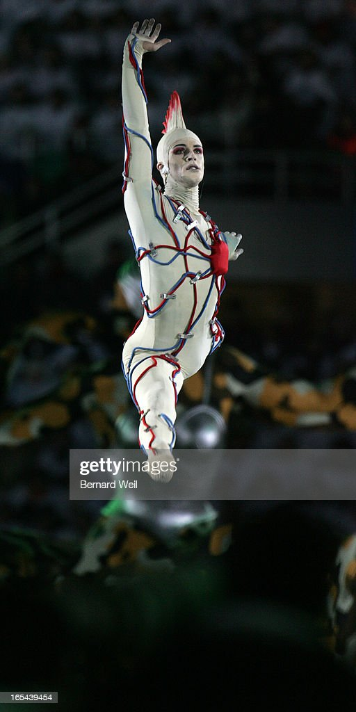 CEREMONIES---02/10/06--- 'The Hero of the Future' leaps at Opening Ceremonies for the Torino 2006 XX Winter Olympics hosted by Turin, Italy , February 10, 2006. (Bernard Weil/Toronto Star) sjr