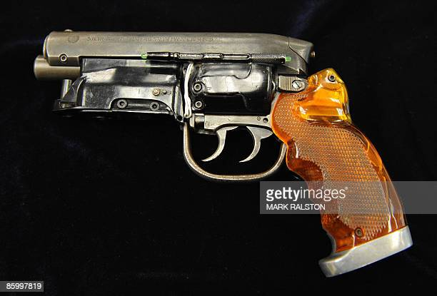 The HeroBlaster gun used by actor Harrison Ford in the 'Blade Runner' movie is displayed prior to being sold at the Profiles in History auction in...